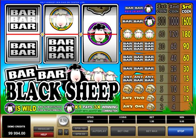 Bar Bar Black Sheep herní automat zdarma!
