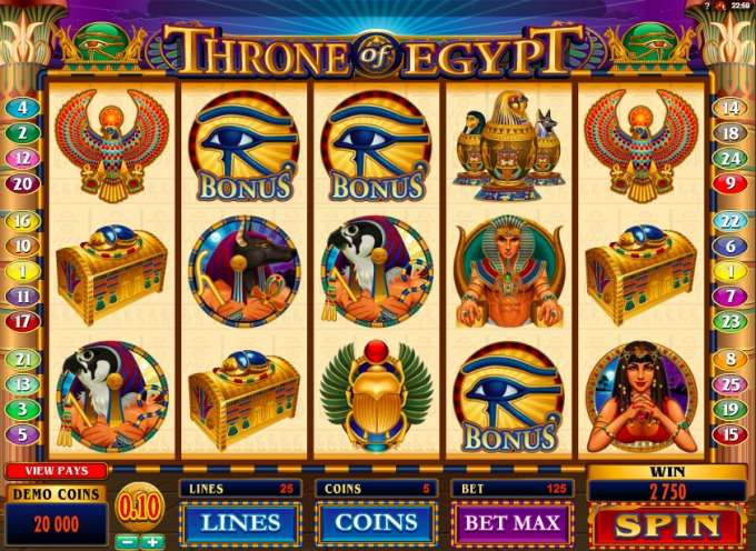 Trone of Egypt casino hra